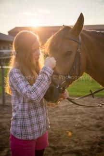 Teenagerin mit braunem Pferd, Weiden, Bayern, Deutschland